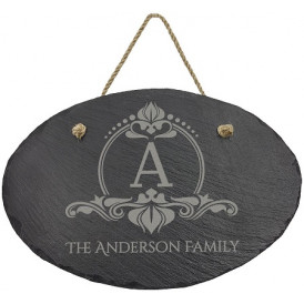 Oval Slate Decor with Hanging String