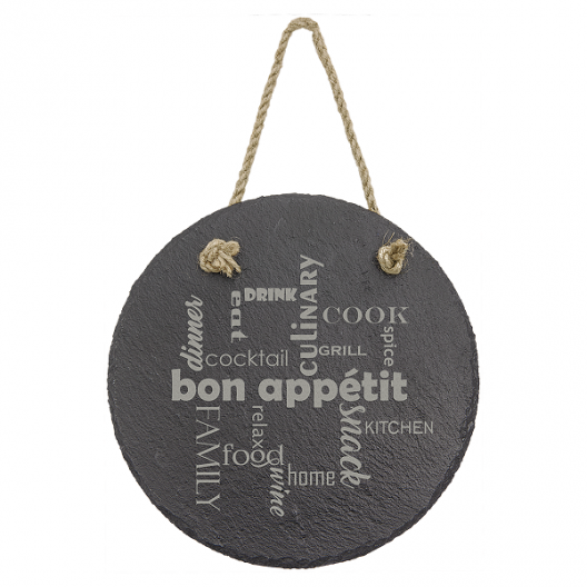 Round Slate Decor with Hanging String