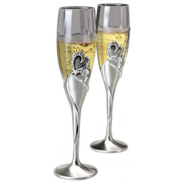 """Hearts"" Toasting Flute 2 Glass Set"