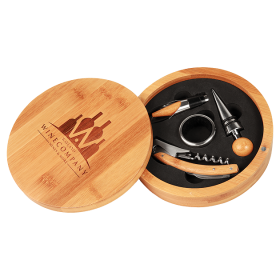 Round Bamboo 4-Piece Wine Gift Set