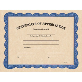 "8 1/2"" x 11"" Certificate of Appreciation"