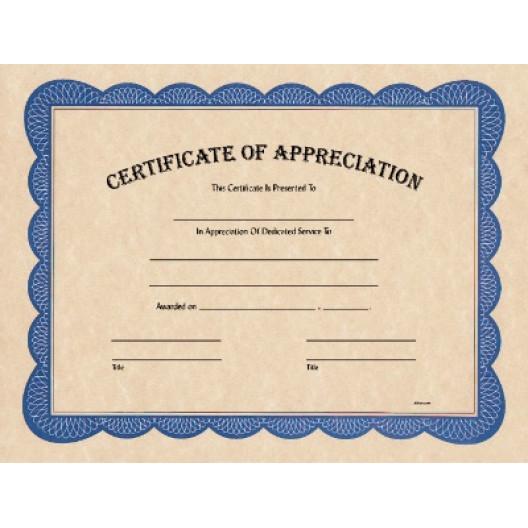 """8 1/2"""" x 11"""" Certificate of Appreciation"""