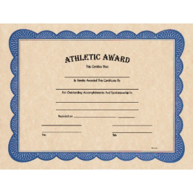 "8 1/2"" x 11"" Athletic Award Certificate"
