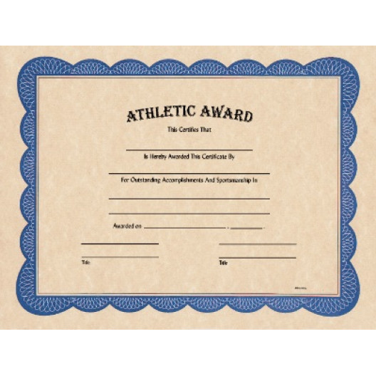 """8 1/2"""" x 11"""" Athletic Award Certificate"""