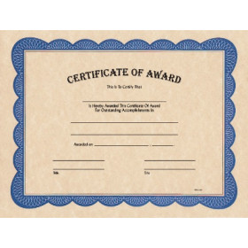 "8 1/2"" x 11"" Certificate of Award"