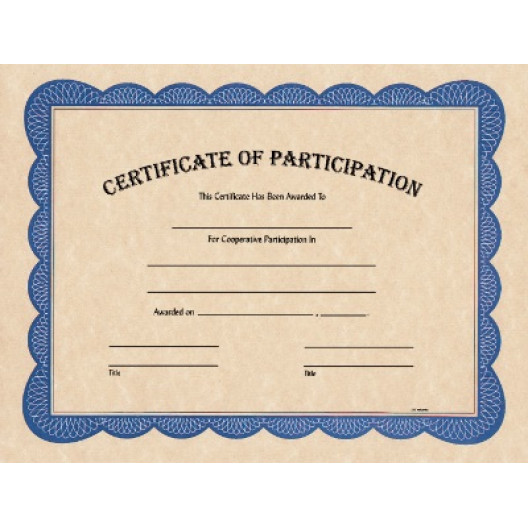 """8 1/2"""" x 11"""" Certificate of Participation"""