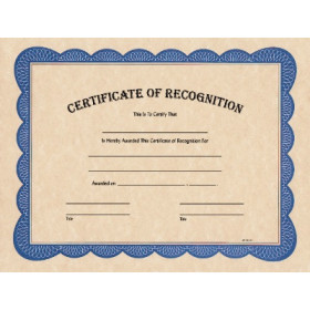 "8 1/2"" x 11"" Certificate of Recognition"