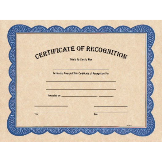 """8 1/2"""" x 11"""" Certificate of Recognition"""
