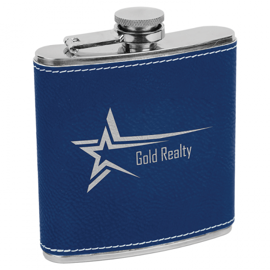 6 oz Blue/Silver Laserable Leatherette Stainless Steel Flask