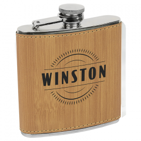 6 oz Bamboo Laserable Leatherette Stainless Steel Flask