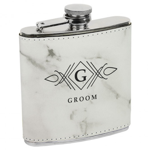 6 oz White Marble Laserable Leatherette Stainless Steel Flask