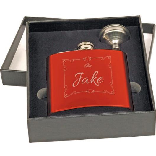 6 oz. Gloss Red Flask Set in Black Presentation Box