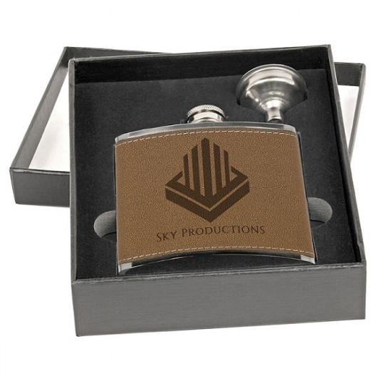 6 oz. Leather Flask Set in Black Presentation Box