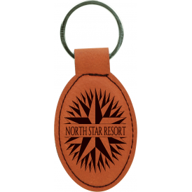 Laserable Leatherette Oval Keychain