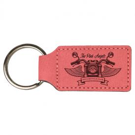 Laserable Leatherette Rectangle Keychain