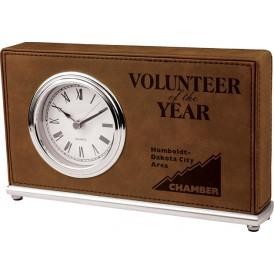 Laserable Leatherette Desk Clocks