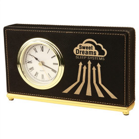 Laserable Leatherette Desk Clocks