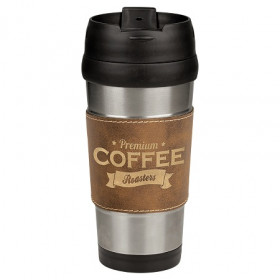 16 oz Leatherette Stainless Steel Travel Mug