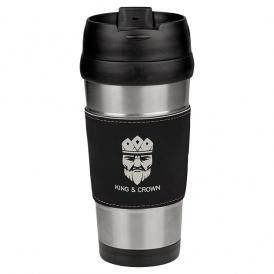 16 oz Leatherette Stainless Steel Travel Mug