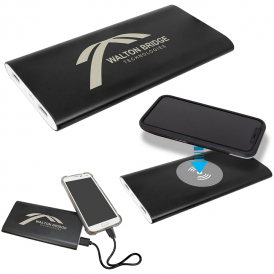 Power Bank & Wireless Anodized Aluminum Charger with Power Cord