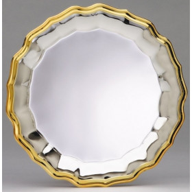 Silver Wave Plate w/ Gold Border