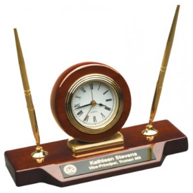 Rosewood Desk Clock with Two Pens