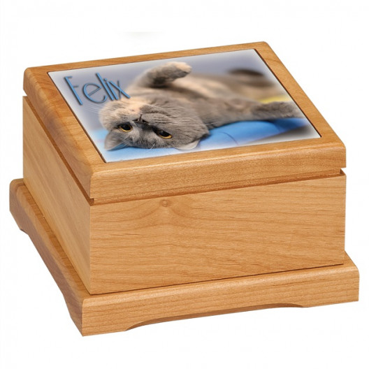 Red Alder Pet Urn with Routed Top