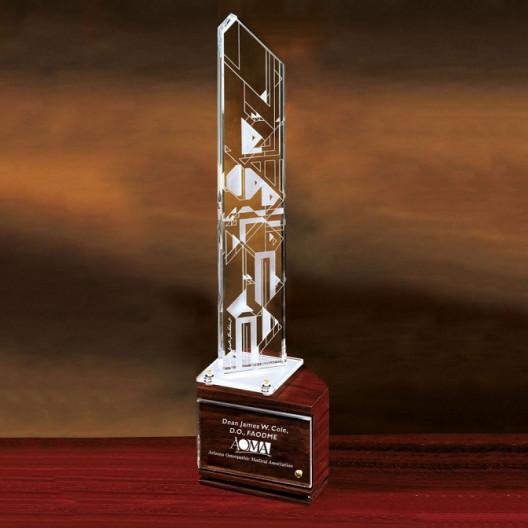 Harmonics-Lighted Wood Base Award