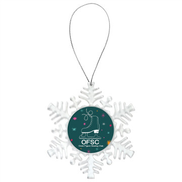 """Clear Snowflake Ornament with 2"""" Insert Holder"""