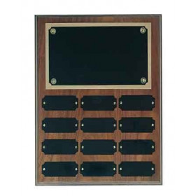 Genuine Walnut Perpetual Plaque with 12 Plates