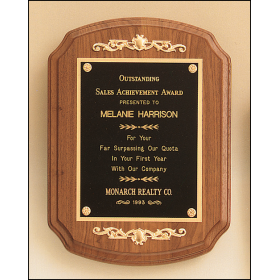 Decorative Walnut Plaque with Casting Accents