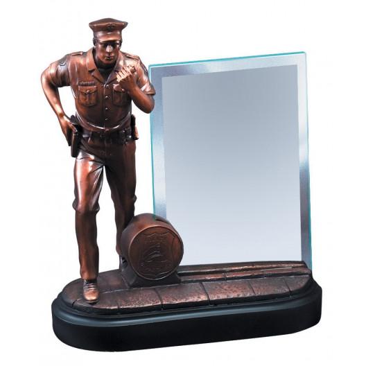 American Hero - Bronze Policeman with Glass Plaque