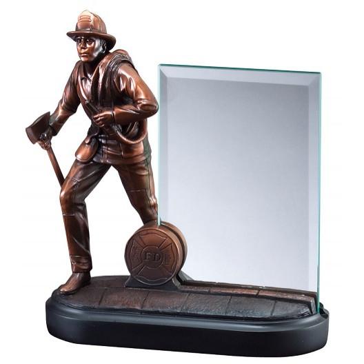 American Hero - Bronze Fireman with Glass Plaque