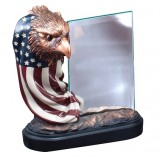 American Eagle - Flag Around Eagle Head with Glass Plaque