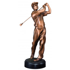 Male Golf Swing Resin on Round Base