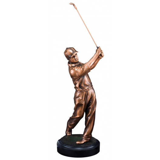 Male Golf Swing Resin on Round Base II