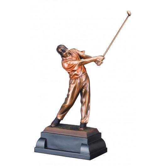 Male Golf Swing Resin on Rectangle Base