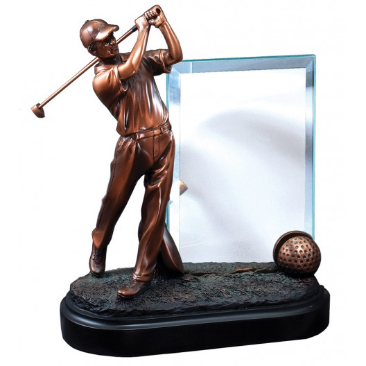 Gallery Collection - Bronze Golfer with Glass Plaque