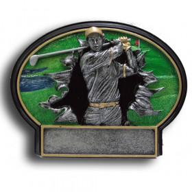 Golf Burst Thru Resin Plate -  Male