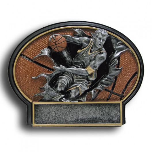 Basketball Burst Thru Resin Plate - Male